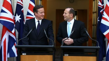 Fuel for thought: British Prime Minister David Cameron and Prime Minister Tony Abbott have taken different approaches to climate change.
