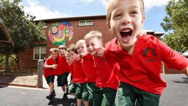 The members of Prep D, an all-boys class at Hampton Primary School.