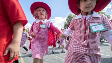 Children on their first day of school at St Kilda Primary School.