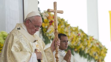 Pope Francis leads a Mass  in  Ecuador on July 6.