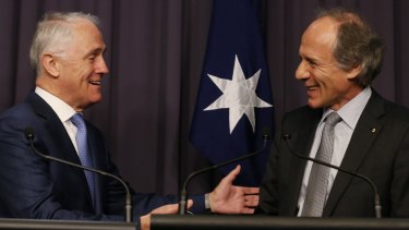 Prime Minister Malcolm Turnbull and the incoming Chief Scientist Alan Finkel in Canberra on Tuesday.