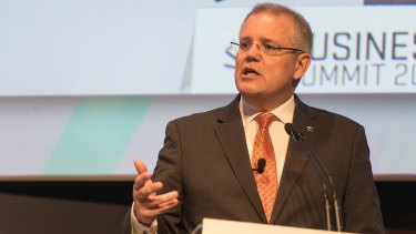 """Scott Morrison at The Australian Financial Review Business Summit, where he flagged the """"regulatory sandbox"""" to boost innovation."""
