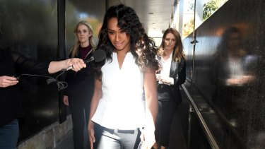 Singer Paulini Curuenavuli leaves the Mount Druitt Local Court in Sydney on Monday after pleading guilty to bribing a Roads and Maritime Services employee, paying them $850 in exchange for an unrestricted licence.