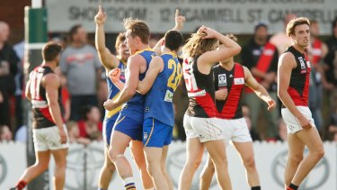 Mitch Banner of Williamstown celebrates a goal during the preliminary final against Essendon on Sunday.