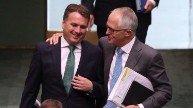 Malcolm Turnbull and Jamie Briggs during happier times in early 2015.