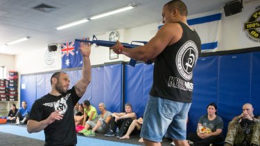 A self-defence workshop at the gym in Caulfield given by former  Israeli infantry soldier Lior Offenbach last year.