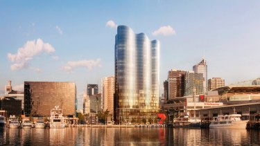 Salta Properties' proposed new 26-storey build-to-rent apartment tower combined with an Indigo Hotel in Melbourne's Docklands.