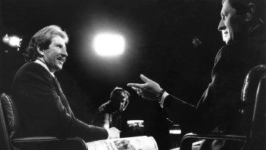 Max Walker, left, and Ken Sutcliffe, presenters of Channel Nine's Wide World of Sports program, in 1989.