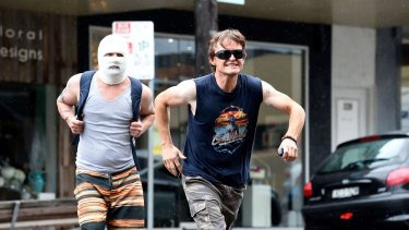 Justin Rosniak as Ditch (left) and Damon Herriman as Jason in <i>Down Under</i>,  which lampoons bigots on both sides of the divide.