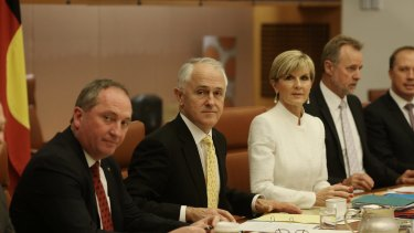 Deputy Prime Minister Barnaby Joyce, Prime Minister Malcolm Turnbull and Foreign Minister Julie Bishop in the cabinet meeting that ultimately ended Kevin Rudd's bid to become UN chief.