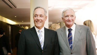 Former NSW premiers Morris Iemma and Nick Greiner at the Western Sydney Business Chamber lunch in Parramatta.