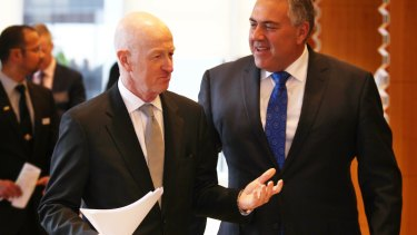 "RBA governor Glenn ""Stirrer"" Stevens and Treasurer Joe Hockey at the summit that stopped the nation."