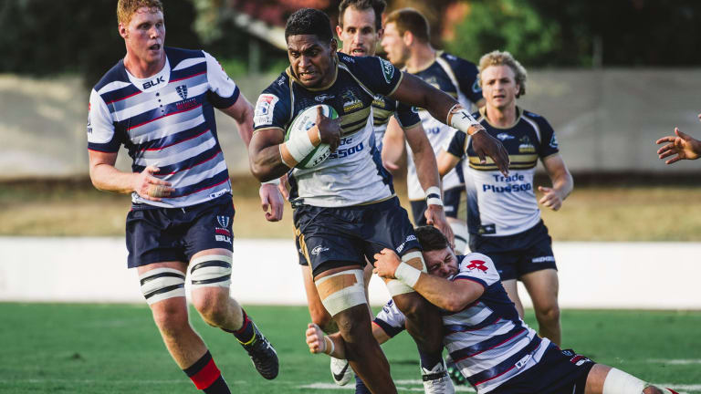 ACT Brumbies v Melbourne Rebels in Super Rugby trial at Seiffert Oval. Left flanker Isi Naisarani. Photo: Jamila Toderas
