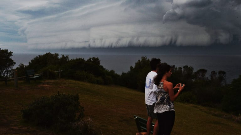 A massive shelf cloud along the coast at Mona Vale after storms hit the City.