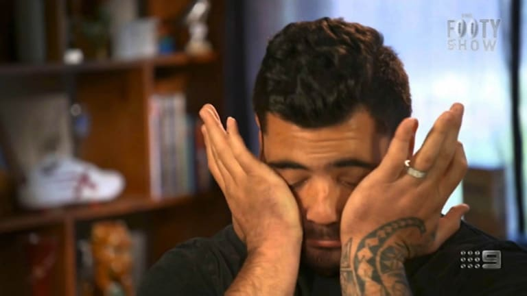 Andrew Fifita breaks down during <i>The Footy Show</i> interview.