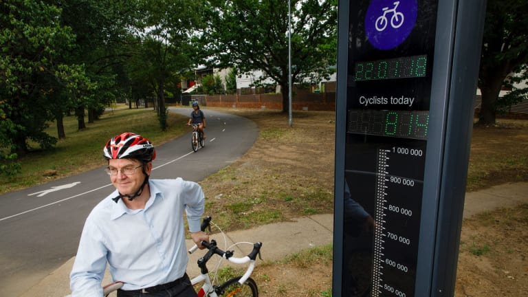 Ian Ross from Pedal Power ACT with the bike barometer in O'Connor. The barometer has proven Canberra to be the cycling capital of Australia.