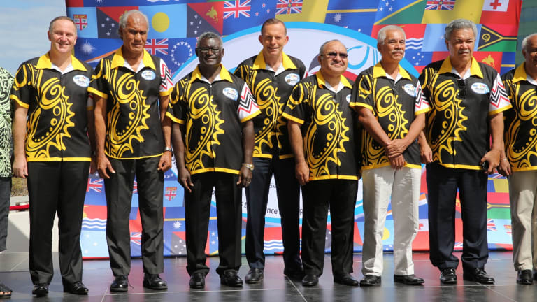 Tony Abbott, pictured with other leaders at the forum.