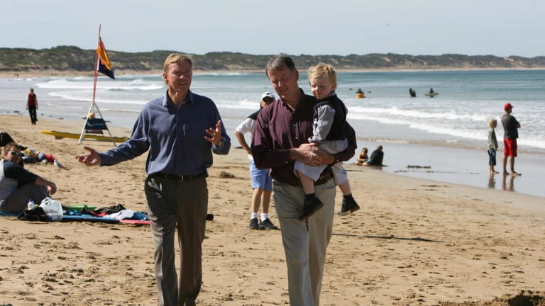 Former Acting premier John Thwaites and Minister for Planning Rob Hulls, with son Jack, at Ocean Grove.