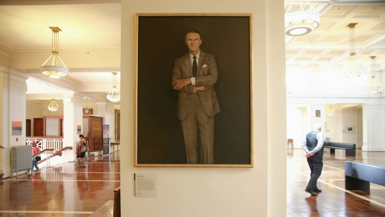 The portrait of Malcolm Fraser by Sydney artist Bryan Westwood at Old Parliament House. Mr Fraser reportedly loathed it at first sight.
