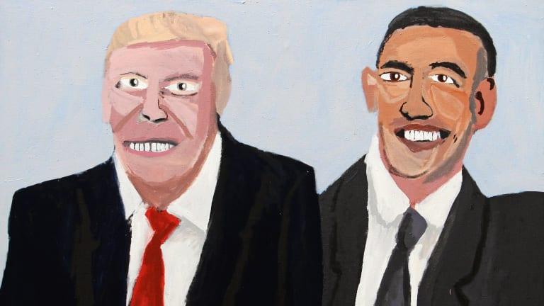 Vincent Namatjira's Trump and Obama (2017).
