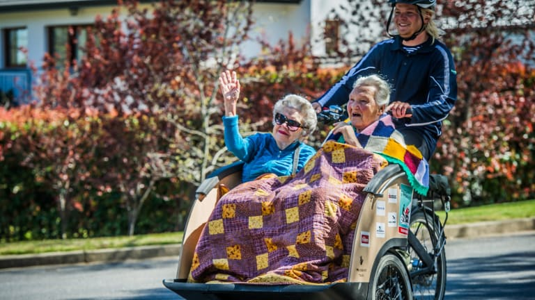 They joined local Pedal Power ACT pilots in bringing smiles to participants from Canberra nursing homes.