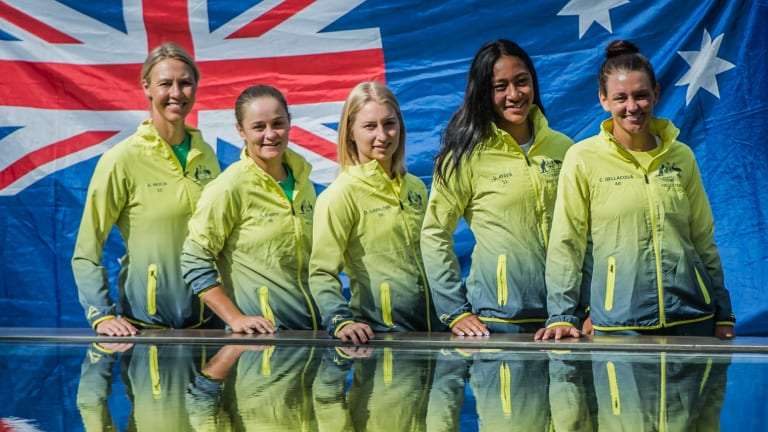 The Australian Fed Cup team in Canberra on Friday: (l-r) team captain  Alicia Molik, Ash Barty Daria Gavrilova, Destanee Aiava and Casey Dellacqua.