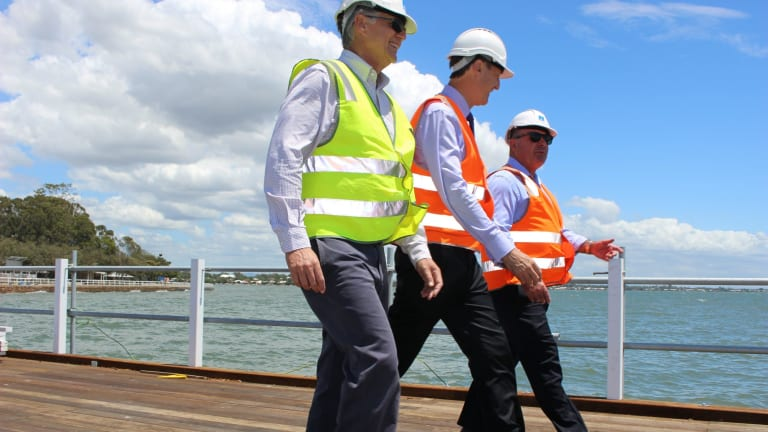 Council Field Services chairman David McLachlan, Lord Mayor Graham Quirk and Sandgate Chamber of Commerce Chairman Bill Gollan at a Shorncliffe pier site inspection earlier this year.