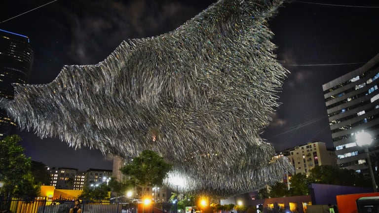 Liquid Sky at Fed Square will look a lot like Poetic Kinetics' previous Los Angeles sculpture Liquid Shard.