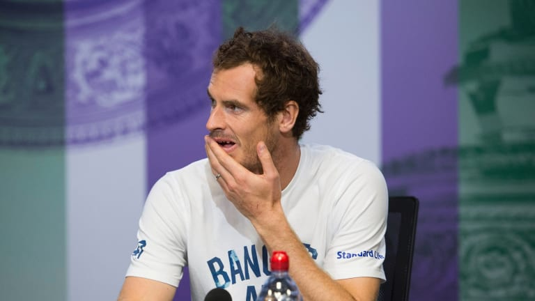 Britain's Andy Murray at a press conference after losing his Men's Singles Quarterfinal Match against Sam Querrey of the United States on day nine at the Wimbledon Tennis Championships in London, Wednesday, July 12, 2017.