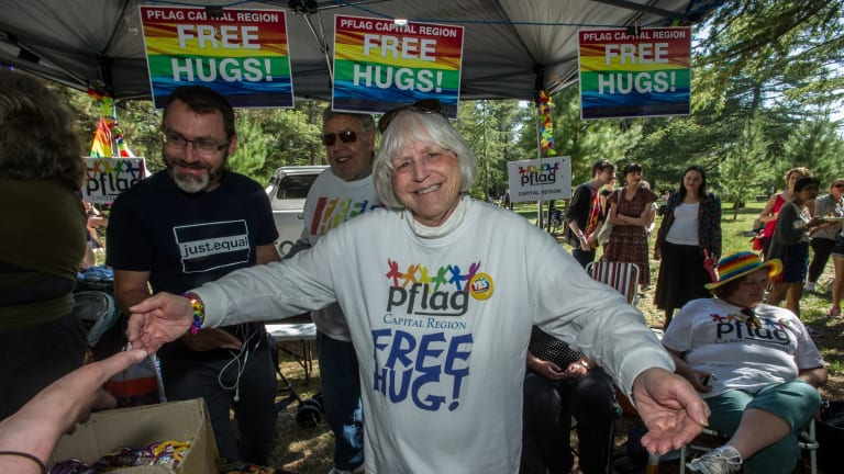 Free hugs were on offer at the Haig Park event.