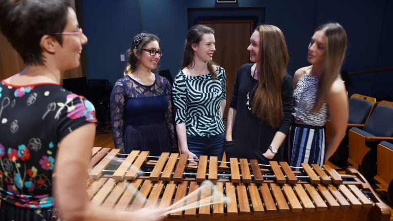 Taking note ... percussionist Claire Edwardes with composers Elizabeth Younan, Clare Johnston, Ella Macens and Natalie Nicolas.