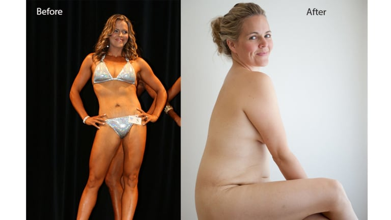 Taryn Brumfitt in her famous before and after photos which sparked a wildfire of comment on social media. For Relax