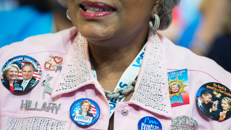 A delegate on the final night of the Democratic National Convention, July 28, 2016.