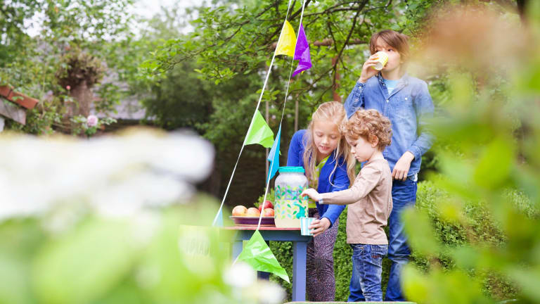 Youngsters can learn about business by holding lemonade stands and understanding costs, income and profit.
