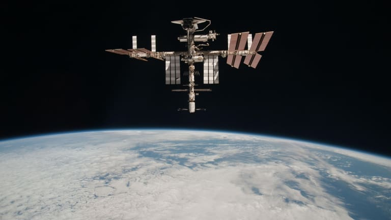 The International Space Station at an altitude of about 220 miles above the Earth, about three and a half times as high as Virgin Galactic would fly.