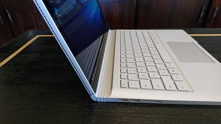 The Surface's hinge and the joint that attaches it to the screen may be incredibly high-tech, but they look pretty retro.
