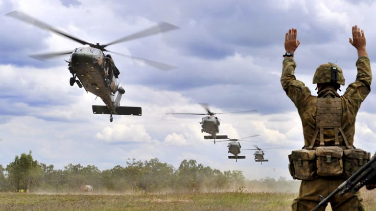Australian Army troops training at Townsville. Military leaders are concerned that extreme weather will add to the Defence Force's challenges.
