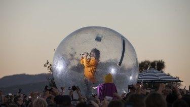 Bubble boy: Wayne Coyne of the Flaming Lips performs at Mofo 2016.