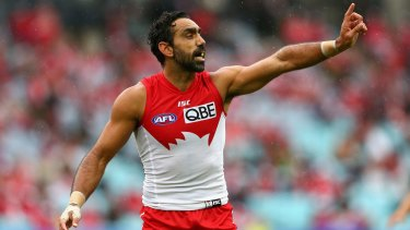 Uncertain future: Adam Goodes of the Swans.