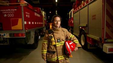 Firefighter Paula Treacy at the South Warrandyte CFA station.