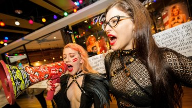 Chanelle Rodgers (left) and Tori Bellentina protest against their former employer, Honey Birdette, on Thursday.