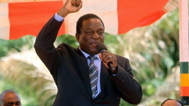 Emmerson Mnangagwa greets party supporters at the ZANU-PF headquarters in Harare in 2016.