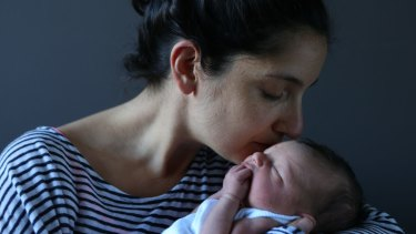 """""""Don't underestimate what your body can do,"""" says new mum Libby Nathan, who gave birth to her baby boy this week at the Royal Hospital for Women."""