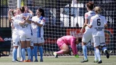 Melbourne City players celebrate Marianna Tabain's winner.