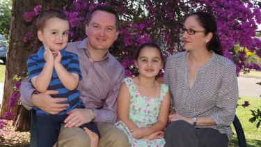 "Bowen and his wife, Rebecca Mifsud (""He wore me down,"" she says of his courting technique), with their son Max, 8, and daughter Grace, 11."