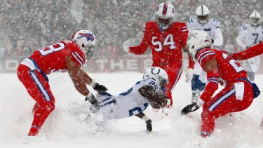 It was wild scenes at the Indianapolis Colts and Buffalo Bills game in the snow.