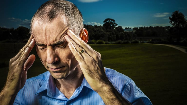 """IT specialist Steve Weller describes the pain of EMS as like """"a tight-fitting hat being pulled down on your head""""."""