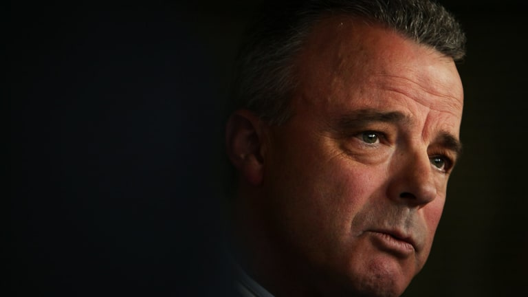 Dr Brendan Nelson  becomes emotional  during a press conference as he announces his resignation from the federal Parliament.