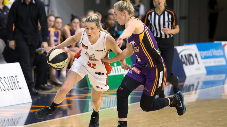 Perth Lynx's Sami Whitcomb (right) will need to be quelled by Melbourne.