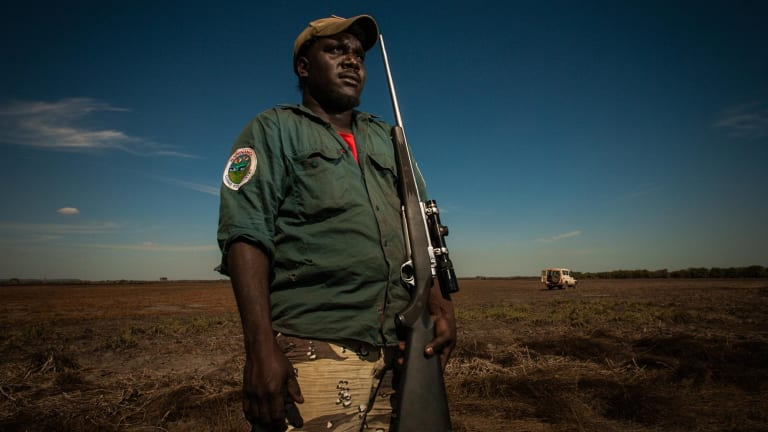 Djelk land and sea rangers patrol for feral buffalo on the Tompkinson River floodplain near Maningrida in Arnhem Land, NT.